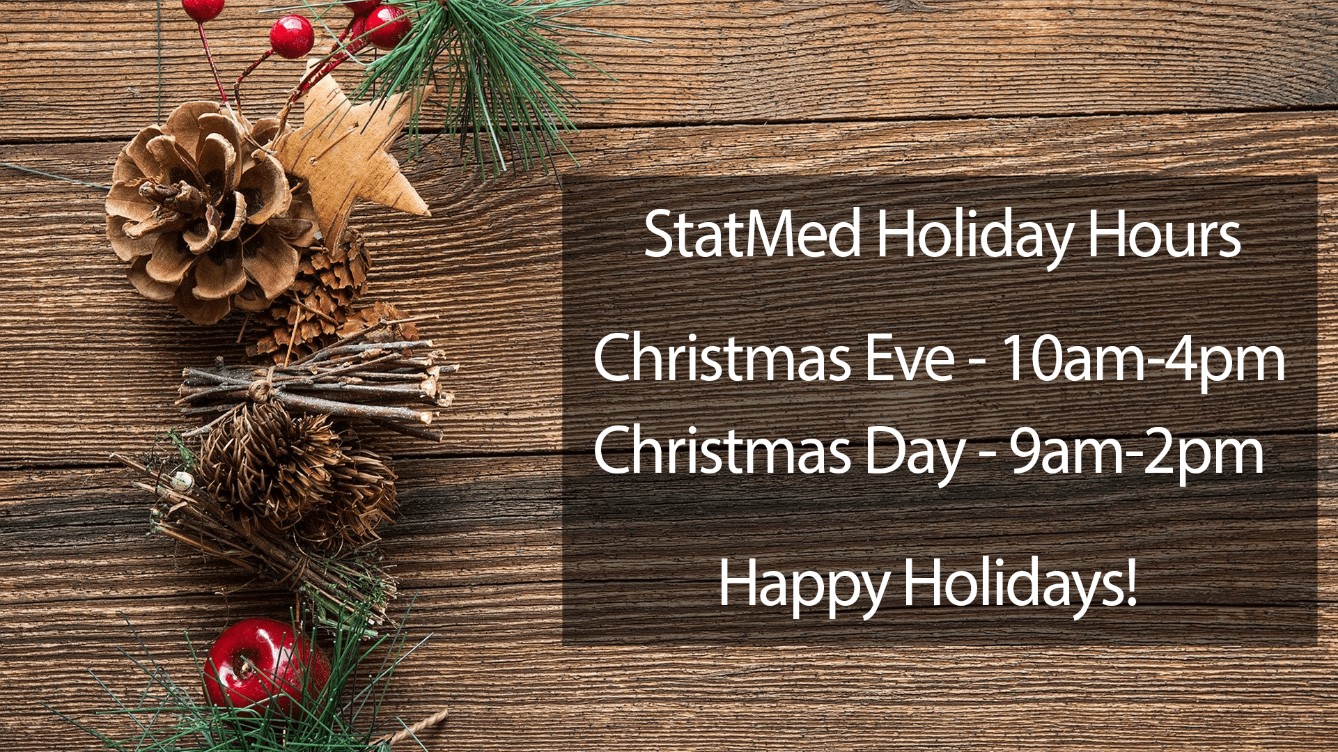 StatMed 2019 Christmas Hours
